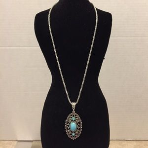 💎3 for $18 NWOT Turquoise Filigree Oval Pendant
